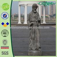 "24"" Concrete Religious Saint Statue with Bird on Hand"