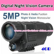5.0MP digital night-vision viewer with video/photo recording, 2m~200m range
