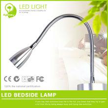 Gooseneck sliver color led bedside lamp 1W 220V led indoor wall mounted led indoor table bedside lamp