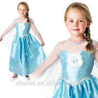 New Frozen Anna Elsa Costume & Wig Girls Princess Kids Fancy Dress Outfit