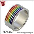 de acero inoxidable arco iris gay lesbian pride a rayas de goma shangjie anillo de la joyería