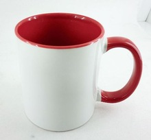 High quality products and mugs drinkware type inner&handle red outside white sublimation mug alibaba china
