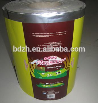 Imprimés margarine soiecouleurs ldpe+al+paper laminée. film pour emballage des aliments