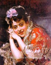 handmade oil painting of Indian girl