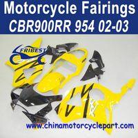 Popular Design For Honda CBR900RR 954 02 03 Black Yellow Motorcycle Fairing Kit FFKHD016