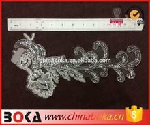 BOKA 2015 high quality Elengant Embroidery Flower Mesh Applique, Floral Flower Wedding Bridal Sequined Lace Trim Applique