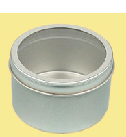 fashion style small round tin can with clear window lid silver tin box on sale