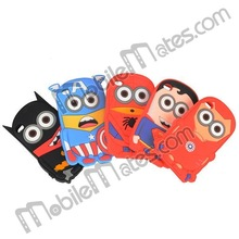 New Design Minions Despicable Me 2 Spiderman Superman Batman 3D Silicone Case for iPod Touch 4