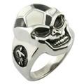 316l de acero inoxidable anillo de calavera con joyas de fútbol el tema de diseño