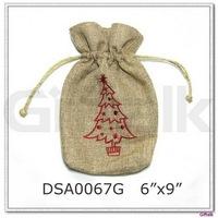 Linen drawstring bag handmade felt products