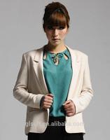 T/R off white color notch lapel slim fit jackets for women