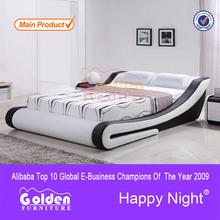 Foshan oro muebles manfuacturer madera maciza cama de matrimonio modelos G996