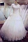 New arrival real sample luxury lace beaded long sleeves muslim wedding d
