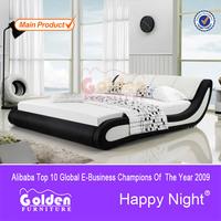 2015 QINDE Moder bedroom furniture queen size single cot bed G888