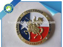 Custom soft enamel old gold 3D logo trading coins