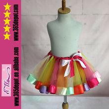 Elegant chic saia para as meninas tutu multicolorido saia do arco-íris 2014