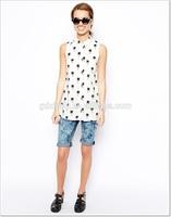 Zippy 2014 New Look Palm Tree Print Sleeveless Shirt High Fashion Blouses For Women