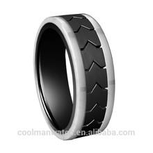 black tyre stainless steel men's ring/fashion wedding ring for men/top sell men's stainless steel men's band