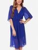 Beautifully breezy chiffon drapes surplice v neck half sleeve royal blue dress for women