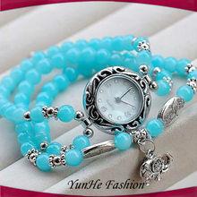 2014 New Trend Fashion Marble Beads Watch Bracelet Jewelry
