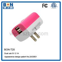 ETL UL FCC 5V 2.1A Dual USB Wall Charger/usb travel charger