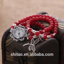 YiWu wholesale Garnet bead bracelet watch, Vintage handmade bracelet watch