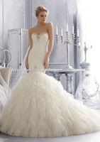 Free shipping sweetheart beaded customize wholesale 2014 cheap lace ruffled mermaid wedding dress CWFaw5812