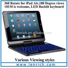 LBK195 For Apple iPad Air 5 Backlit Keyboard Case Bluetooth Illuminated Keyboard Ultrathin Cover Stand Bluetooth Keyboard
