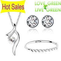 wedding wholesales brand bridal gifts 18K GP zircon pendant necklace earrings bracelet fashion jewelry sets 4 colors 6389