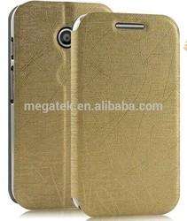 cell phone case pu flip leather case for moto e, for moto e case