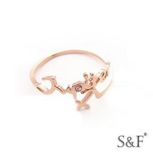 Obsidiana g0614427a de la moda rosa anillo de oro, exagerada de la moda rosa anillo de oro
