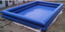 Commercial 0.9mm pvc tarpaulin blue color double tubes best selling inflatable adult swimming pool