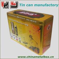 Yellow rectangular wine bottle tin cans/ dried fruit tin box/ fruit juice tin cans