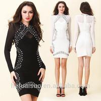 Long Sleeve Gold Sequin Bandage Dress beading bodycon dress bandage dresses H167