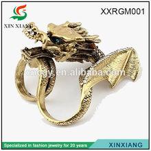 2014 HOT SALE fashion factory dragon antigold ring designs for men