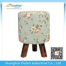 Oufan Three-legged Floral Rustic Wooden Stool