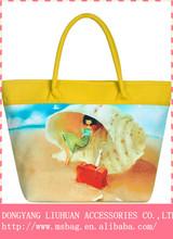 Fashion digital print 100% cotton waterproof lady hand bag