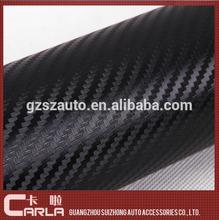 PVC gloss car wrap black 3d vinyl carbon fiber textured adhesive vinyl