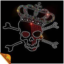 Beautiful crown design wholesale rhinestone skull transfer