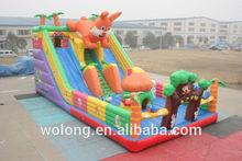 2015 good cartoon inflatable slide / jumping slide combo for sale