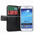 Teléfono móvil del cuero de la carpeta para Samsung Galaxy S4 Mini con 2 ranura de la tarjeta