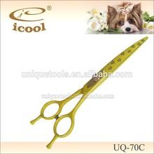 Newest UQ-70C Curved dog grooming hair scissors 440C Japanese steel