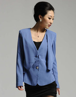T/R Royal blue color two button coat and vest two piece ladies office uniform