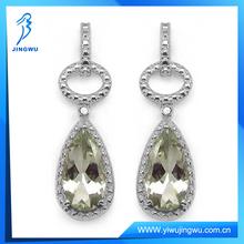 2014 Green Amethyst & Diamond 925 Sterling Silver Earring