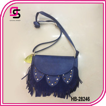 2014 fashion cute PU blue leather tassels for handbag