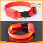 New cat collar TZ-PET9001 pure color & nylon flashing led cat collar