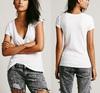 t shirts v neck white spandex cotton rayon plain blank plain women short sleeve deep v-neck tshirt summer fashion manufacture