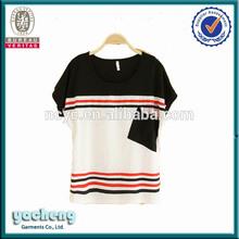 OEM printed women T shirts short sleeve wholesale 100% cotton soft and thin t shirts 100 cotton pinstripe t shirt