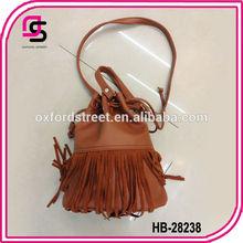 2014 fashion cute Coffee PU wholesale leather tassels for handbag bucket bag