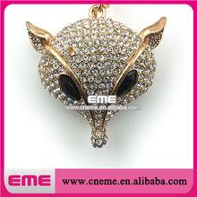 Personalized Silver Fox head Black Eye Charm For Necklace & Unique Key Chain Rhinestone Pendant